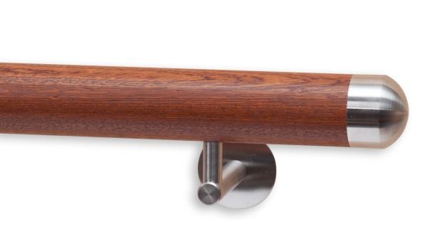 Handlauf Mahagoni, Modell DS 71, Handlaufende aus Edelstahl rund
