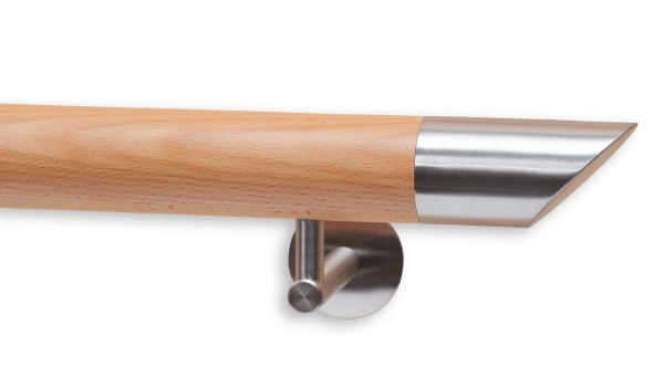 Handlauf Buche, Handlaufenden Edelstahl, Modell DS 25