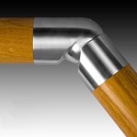 Handlauf Holz Edelstahl Verbinder einstellbar 45 mm Durchmesser