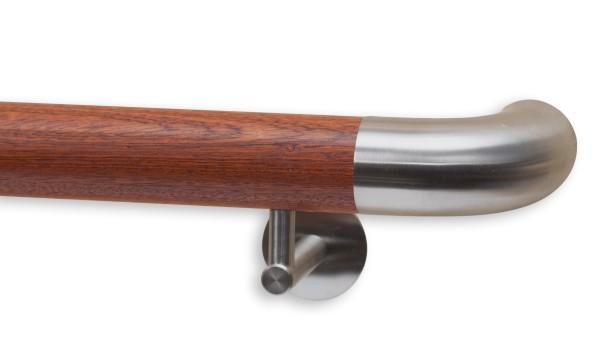 Handlauf Mahagoni, Modell DS 73, mit Handlaufenden Rundbogen Edelstahl