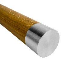 Handlauf Holz mit Edelstahl, Handlaufabschluss flach.