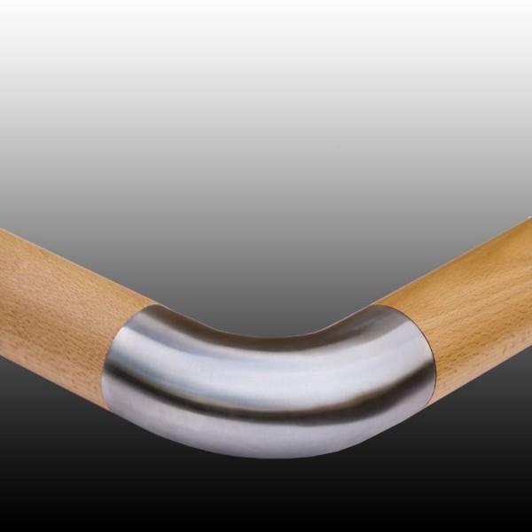 Handlauf Holz mit Edelstahl Verbindungsbogen, Holzgeländer.