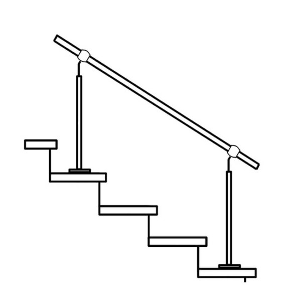 Handlaufgeländer Edelstahl mit 2 Geländerpfosten