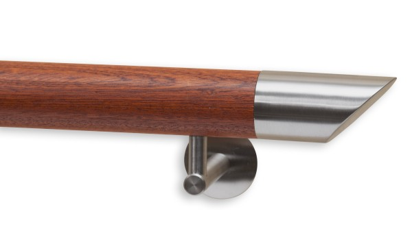 Handllauf Mahagoni, Modell DS 75, Handlaufende aus Edelstahl