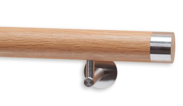 Handlauf aus Eiche, Modell DS40, Handlaufenden Edelstahl flach