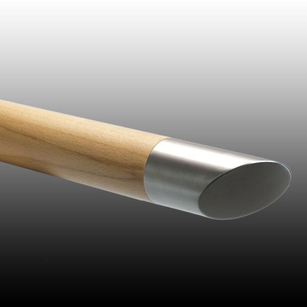Handlauf Holz mit Edelstahl, und Handlauf Holz Ende 45°.