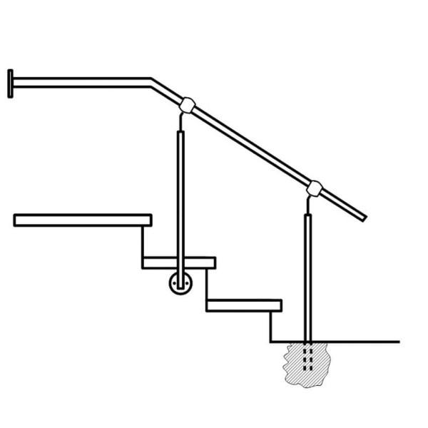 Handlaufgeländer Edelstahl seitliche Montage und einbetonierung