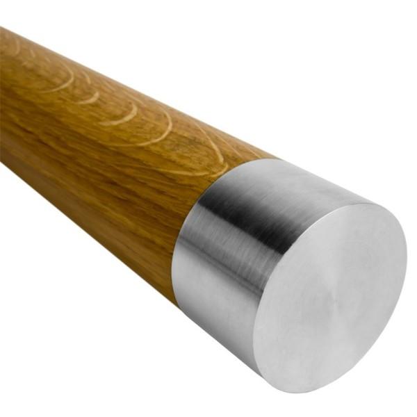 Handlauf aus Holz mit Edelstahl mit Ende flach.