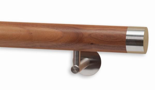 Handlauf Nussbaumholz, Modell DS 80, Handlaufende flach aus Edelstahl